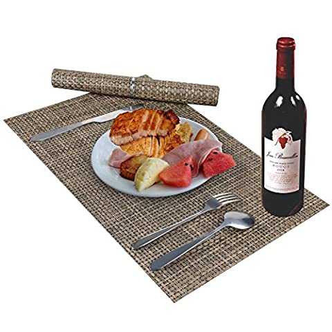 Table Mats, Placemats for Indoor/Outdoor/ Kitchen/ Dining Room Insulation Non-slip PVC Weave Place mats, Double-sided place mats Washable Vinyl dinner table placemats place mats (Coffee set of 4)