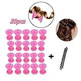 Locisne 20pcs Silikon Haar Lockenwickler+1 französisches Haar-Flechten, Haar-Lockenwickler weiche Rollen DIY Werkzeuge (Haar Lockenwickler gesetzt)