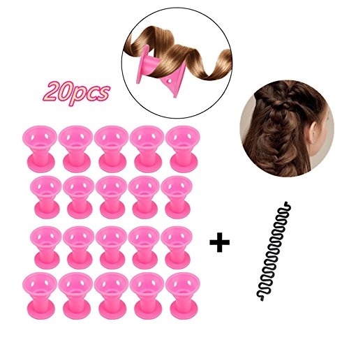 Locisne 20pcs Silicone ninguna herramienta francesa de la trenzar del pelo de los bigudíes de pelo del calor + 1, ninguÌ n pelo de los rodillos de pelo del calor (Rizadores de pelo conjunto)