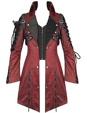 Poison Punk Rave chaqueta impermeable para hombre de color rojo piel sintética de color negro perchero de pared...