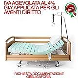 Goldflex - Letto Ospedaliero Sanitario Singolo 90x195 con rete motorizzata a 2 MOTORI indipendenti e carrello ELEVATORE fino a 80cm, compreso di 4 ruote con sistema frenante. IL PREZZO ESPOSTO E' CON L'IVA GIA' APPLICATA AL 4% PER INVALIDITA' MOTORIA RICONOSCIUTA DALLE NORMATIVE VIGENTI (RICHIESTA DOCUMENTAZIONE OBBLIGATORIA VEDI SOTTO)