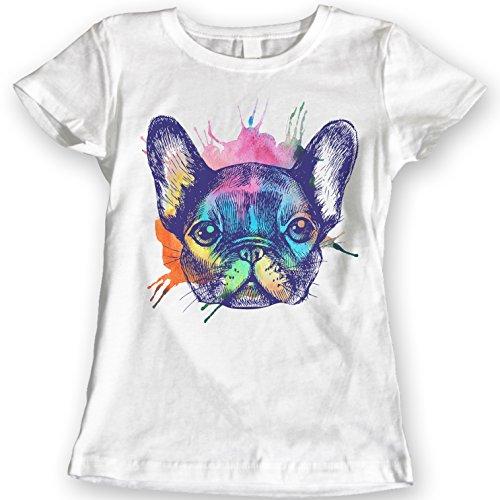 Francés Bulldog Camisetas Acuarela 100% Algodón (L, Blanco)