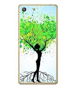 PrintVisa Designer Back Case Cover for Sony Xperia M5 Dual :: Sony Xperia M5 E5633 E5643 E5663 (Abstract Illustration Colorful Decorative Graphic Green Black)