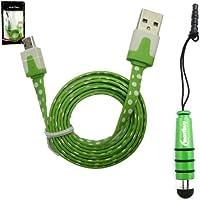 Emartbuy® Tupfen Bereich Duo Pack für Alcatel OneTouch POP 7S 7 Zoll Tablet - Grün Metallic Mini Stylus + Polka Dots Grün / weiß Wohnung Anti-Tangle Micro USB Sync Übertragen von Daten und Ladekabel