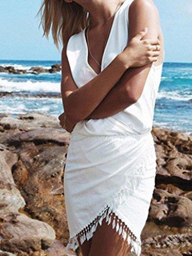 Highdas Femmes Été Casual Robes sans manches irrégulier Houppe Decontractee Mini robe Noir Blanc Gris Jaune Rouge Bleu S-XL Blanc