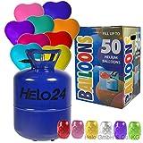 Helo Helium Ballon Gas 0,45m³ (22,3 Liter Flasche) für 50 Ballons inkl. 50 Herz Luftballons (bunt Gemischt), Einweg Helium Gasflasche mit Sperrvorrichtung und Knickventil für Einfache Befüllung