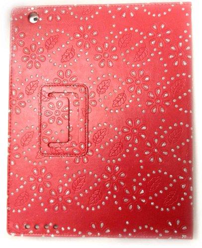 Glits und Blätter rot Executive Qualität Leder Schutzhülle für Apple iPad 3 -