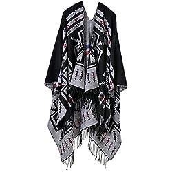 Ponchos Mujer Elegantes Otoño Borlas Impresión Termica Capa Fiesta Estilo Chal Vintage Moda Cardigan Chaqueta De Punto Outwear Niña