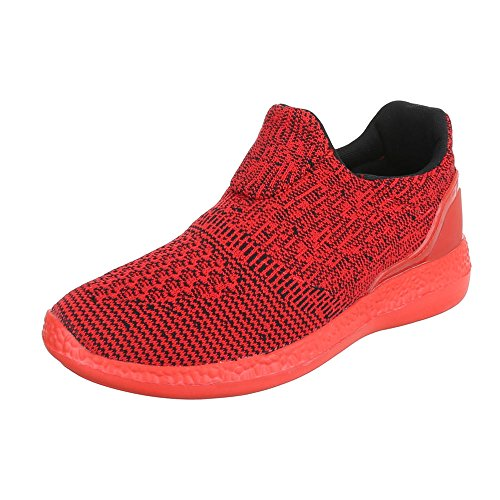 Slipper Damenschuhe Herrenschuhe Leichte Unisex Sneakers Ital-Design Halbschuhe Rot BY3106
