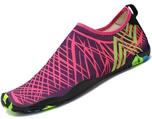 katliu Femme Homme Chaussure de Plage/Chaussons/Chaussures Aquatiques/pour Sport D'eau Piscine Natation Plongée Aquagym/Rose 35