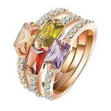 Daesar Anneaux Femme Bague De Mariage Plaqués Or Rose Cubic Zircnia Anneaux Stacking Zircon Cubique Anneau Pour Femme Taille:59