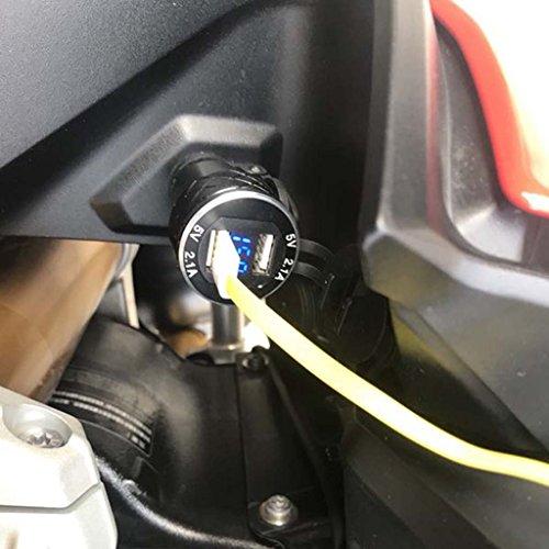 JENOR Presa DIN Per Caricabatterie Dual USB Per Moto In Alluminio 4.2A Voltmetro Per Moto BMW
