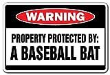 Eigentum geschützt durch eine Baseballschläger Warnschild  -  Funny Home Décor für Garagen, der Wohnzimmer, Schlafzimmer, Büros   signmission Geschenk Sports Schild, Dekoration
