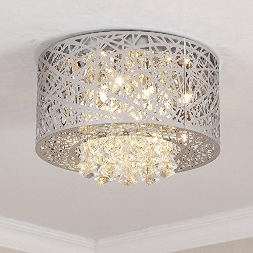 Saint Mossi Modern K9 Crystal Lámpara de suspensión de araña Iluminación Montaje empotrado Lámpara de techo de LED Lámpara colgante para comedor Baño Sala de estar Sala de estar 8 G9 Bombillas