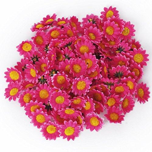 floristikvergleich.de 100 Stücke Kunstblumen DIY Künstliche Gänseblümchen Kopf für Hochzeit Dekoration Tischdeko (Dunkel Pink)