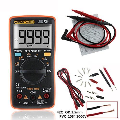 4EVERHOPE AN8009 Automatische Reichweite Handheld Digital Multimeter Test AC / DC Spannung, Gleichstrom, Widerstand, Kontinuität, Dioden, Transistor für Auto, Elektrotechnik Orange (Test-licht-schalter)