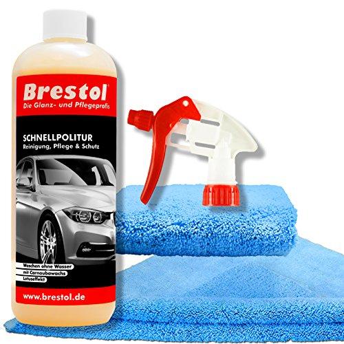 Brestol Schnellpolitur Set4 (1000 ml + Zubehör) - Wow Waschen ohne Wasser - Autopolitur mit Carnaubawachs - Reiniger und Versiegelung für folierte Fahrzeuge - Folienversiegelung Folienreiniger