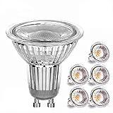 GU10 LED Lampe, Pursnic 5W LED Birnen Ersetzt 50W Halogenlampen, 500LM, Warmweiß 3000K, 60°Strahlwinkel, GU10 LED Leuchtmittel, Einbauleuchten, Schienenstrahler, 6er-Pack
