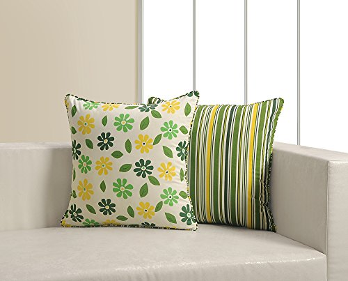 ShalinIndia Green Floral Print Cushion Cover Set With 2 Throw Pillow Covers Cotton Poplin Fabric 18x 18 Inch