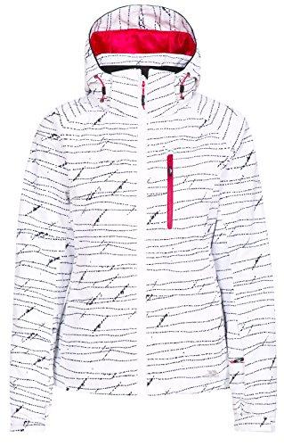 Trespass Oya, White Print, S, Wasserdichte Skijacke mit abnehmbarer Kapuze, Skipasstasche & Schneefang für Damen, Small, Weiß