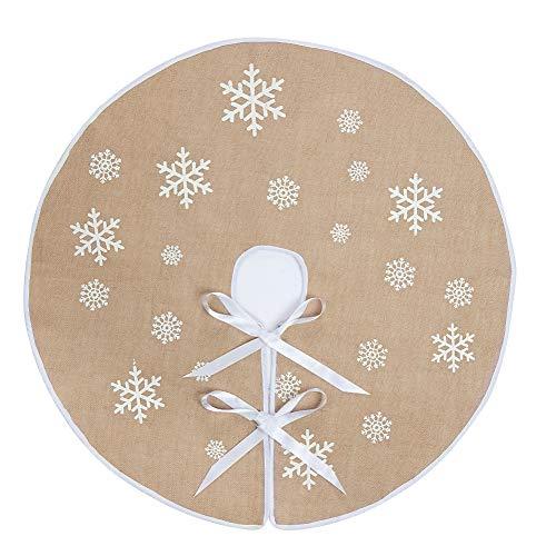 N&T NIETING Runder Schneeflocken-Weihnachtsbaum-Rock für traditionelles Thema, Weihnachten, Erntedankfest, Neujahrsdekoration, 91,4 cm 48 Khaki