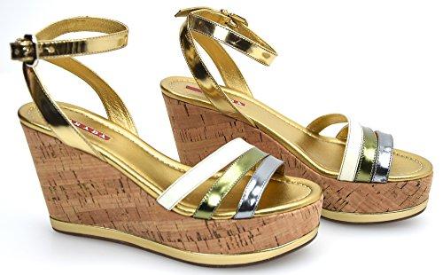 Le Art Boiteux Mulricolor Platinum Prada Wedge Sandal Femmes Chaussure En Cuir. Lame Multicolore 3x4879 Platine