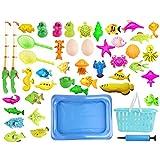 PHYNEDI Jouet de Bain, Lot de 47 Jeu de Pêche - Poisson et Canne à Pêche, Football pour Bain ou Piscine - Cadeau pour Enfant Fille Garcon de 2 Ans