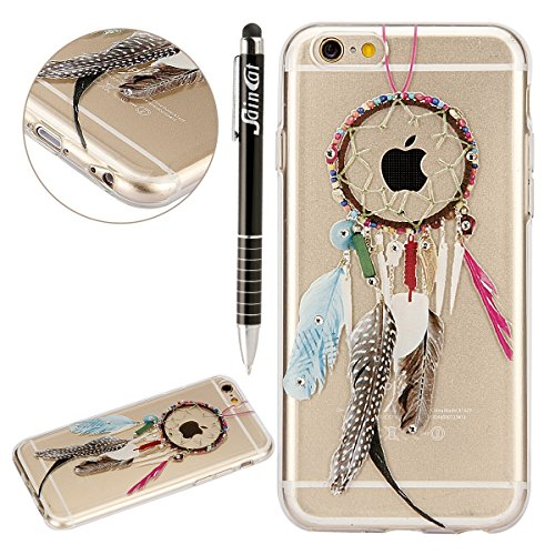 Custodia iPhone 6 Plus, iPhone 6S Plus Cover Glitter, SainCat Cover per iPhone 6/6S Plus Custodia Silicone Morbido, Custodia Bling Glitter 3D Design Transparent Silicone Case Ultra Slim Sottile Morbid Feather Tribal