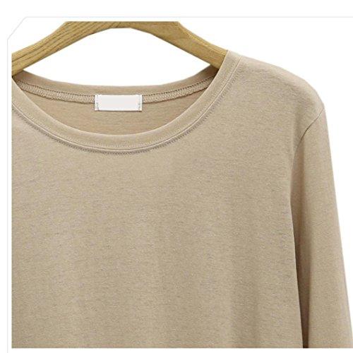 T-Shirt Femmes Basique Chic Longra Chemisiers et Blouses Femmes Uni Col rond Loose Tops à manches longues Demi saison Pull Irrégulier Mi longue Sweat-shirts Originaux Casual Tee shirt Beige