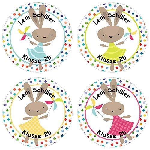 Papierdrachen 24 individuelle Aufkleber für Kinder - Motiv Hasen - personalisierte Sticker - Schule Einschulung