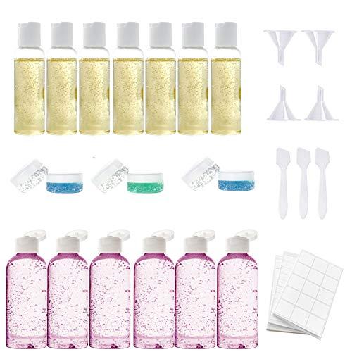 Bottiglie da viaggio - set di 28 pezzi - di cui 3 trasparenti borse da toilette - contenitori da 100 ml. bottiglie di dimensioni ideali per cosmetici da viaggio e articoli da toeletta per la famiglia