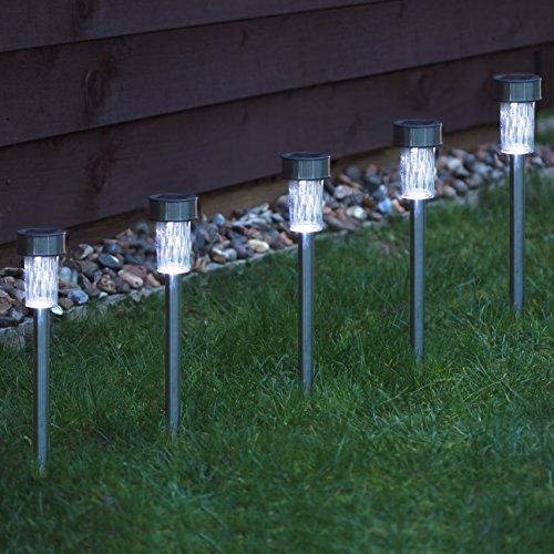 Babz - Faroles solares para jardín (acero inoxidable, 10 unidades)