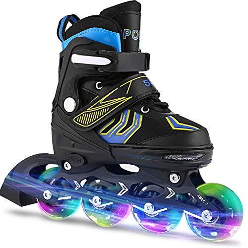 Inline Skates Kinder verstellbar mädchen/Jungen Inline Skates Rollschuhe PU Verschleißfeste Herren/Damen (31-34, Blau)