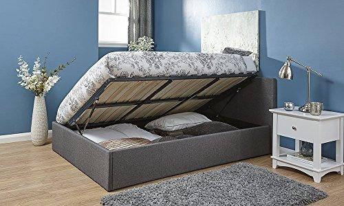 Bett mit Stauraum, 120 cm, abhebbarer Bettkasten, silbergraues kleines Doppelbett aus Stoff mit Stauraum