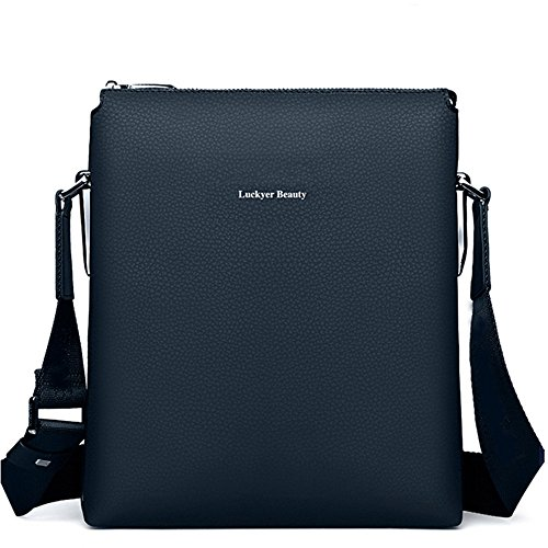 Luckyer Beauty Herren Messenger Bag gro? Leder Aktentasche Laptop Satche B¨¹ro Messenger Tasche Blau blau
