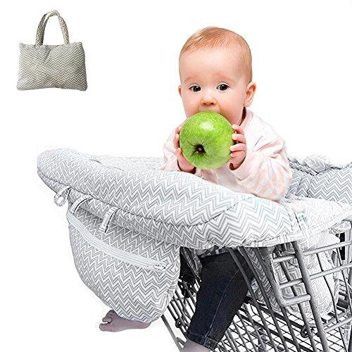 Waroomss Einkaufswagenschutz, Universal Fit Ultra Plüsch 100{eb9be1bf8cc5c484c12dec4b1396bc3a61bb07cf73706f053744be83561c65cf} Baumwolle Oberen Volle Sicherheitsgurt Maschine Waschbar für Baby Kleinkind