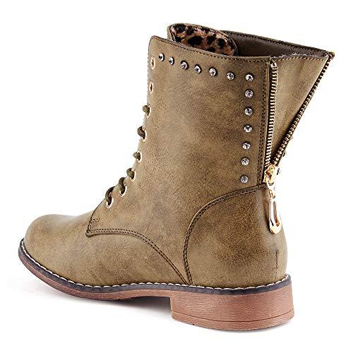 IL Shoes Damen Biker Boots Reißverschluss Gefüttert Nieten Stiefel Stiefeletten Potsdam/Oliv/leichtgefüttert EU 36