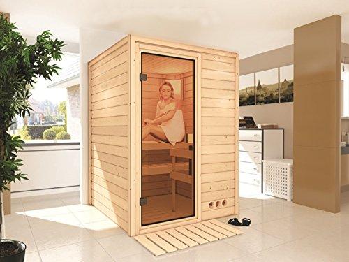 Massivholz Sauna Lammi 144cm x 144cm x 200cm inkl. Zubehörset 3,6kW Saunaofen
