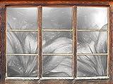 Stil.Zeit türkise Lilien Kunst Kohle Effekt Fenster im 3D-Look, Wand- oder Türaufkleber Format: 92x62cm, Wandsticker, Wandtattoo, Wanddekoration