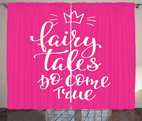 BHWYK Once Upon a Time Curtains, Fairy Tales Do Come True Inspirational Calligraphy with Princess Crown, Living Room Bedroom Window Drapes 2 Panel Set, Pink White,110 W X74 L inch True Blue Fairy Light