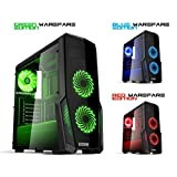 EMPIRE GAMING Boitier PC Gaming WareFare Noir LED Verte : USB 3.0, 3 Ventilateurs LED 120 mm, paroi Latéral Transparente - ATX/mATX/mITX