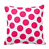 Bags-Online Round Dot Pattern - White and Pink Pillow Case Decor Cushion Covers for Room