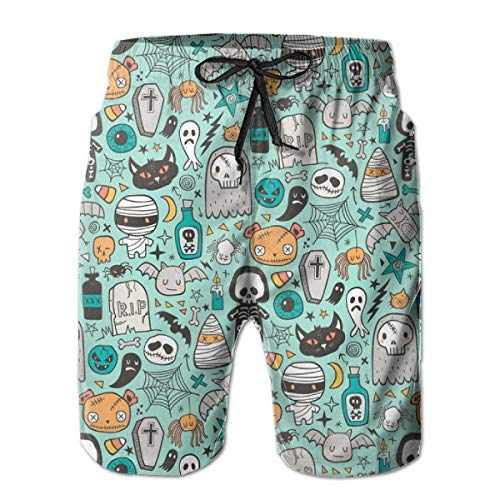 en Doodle Skulls,Men's Shorts Casual Classic Fit Drawstring Summer Beach Shorts Beachwear Summer Holiday Swim Trunks ()