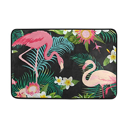 jstel Tropic Blume Flamingo Palmblatt und Pflanzen Back-Fußmatte waschbar Garten Büro Fußmatte, Küche ESS-Living Badezimmer Pet Eintrag Teppiche mit Rutschfeste Unterseite 59,9x 39,9cm