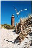 Wallario Garten-Poster Outdoor-Poster - Möwe am Strand mit Leuchtturm in Premiumqualität, Größe: 61 x 91,5 cm, für den Außeneinsatz geeignet