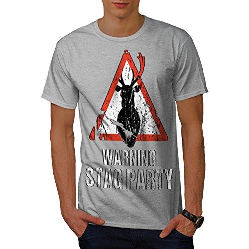 wellcoda Warnung Party Komisch Hirsch Männer T-Shirt, Junggeselle Grafikdesign gedruckt Tee -