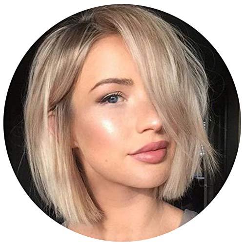 Damen Perücke Kurzhaar Gewellt Gold Kurz Welle Haar Synthetische 35cm Wig Front Lace DIY Haaransatz 2019 NEU für Cosplay Party Täglicher Gebrauch VNEIRW (A)