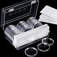 46 mm de Cápsulas de Monedas y 8 Tamaños (17/20.5/25/27/30/32/40/46 mm) Junta Protectora Caja Funda de Moneda con Caja Organizador de Almacenaje de Plástico para Materiales de Collección de Monedas