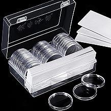 Hicarer 46 mm Münz Kapseln und 8 Größen (17/ 20,5/ 25/ 27/ 30/ 32/ 40/ 46 mm) Protect Dichtung Münzhalter mit Kunststoff Aufbewahrungsbox für Münz Sammlung Zubehör