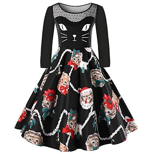 VEMOW Damen Elegantes Cocktailkleid Abendkleid Damen Mode Sleeveless Christmas Cats Musical Notes Print Beiläufig Täglich Vintage Flare Dress(X4-Schwarz, ()